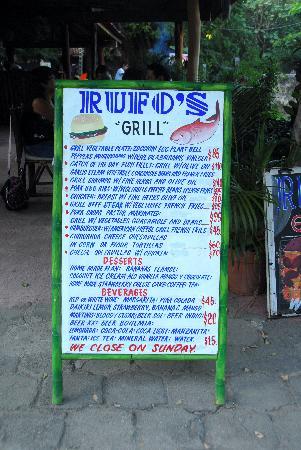 Rufo's Grill: Rufo's menu