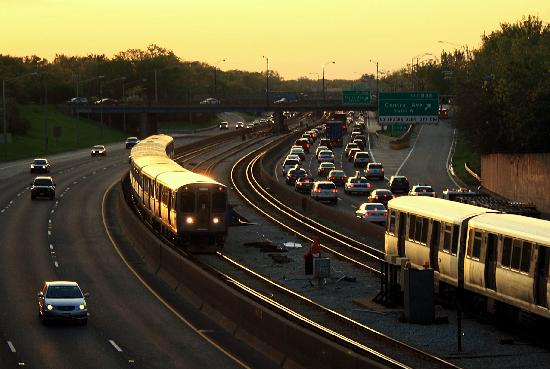 Blue Line Cta Rapid Transit Trains In Median Of The