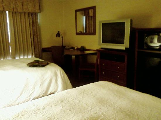 Hampton Inn Suites Phoenix Surprise : Looking at desk, TV, microwave and fridge.