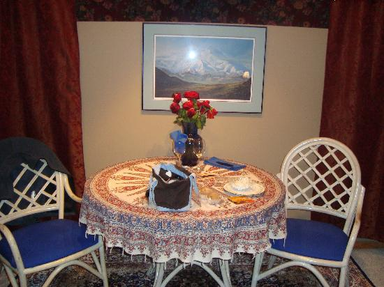 The Mangy Moose Bed & Breakfast: Table with flowers and treats!