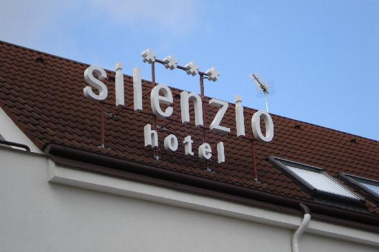 Sign on top of the wonderful Silenzio Hotel