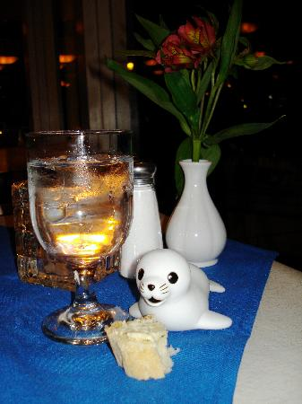 Portola Hotel & Spa at Monterey Bay: Floaty seal came to dinner with us at the Fisherman's Wharf