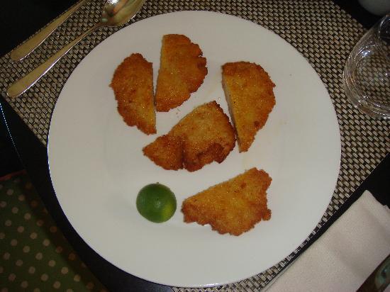 The St. Regis Bora Bora Resort : 70 dollar chicken parmesan.  in fairness, I'll note that its marinara dipping sauce is not shown