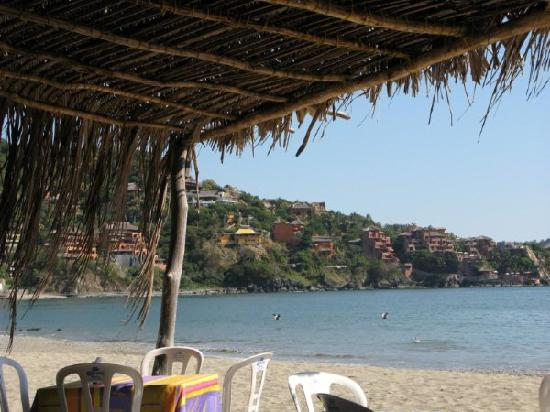 View of the beach from a resturant in Zihuatanejo