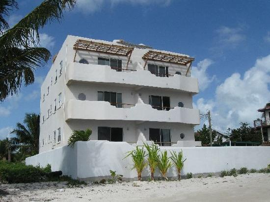 Seaside Villas Condos: View of units from beach. Unit #6 is top left