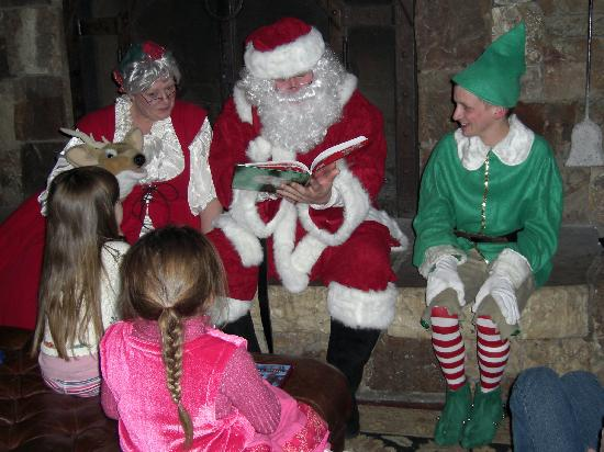 The Christmas Clause.Santa Mrs Clause And Elf Reading Stories For Christmas