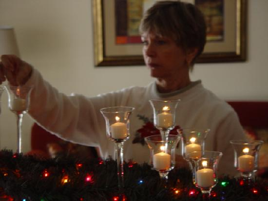 Park Regency Hotel: Decorating the mantle for Christmas.
