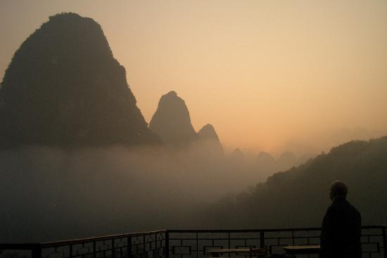 Li River Resort: View from top deck -- can't believe we got to see such a beautiful sight.