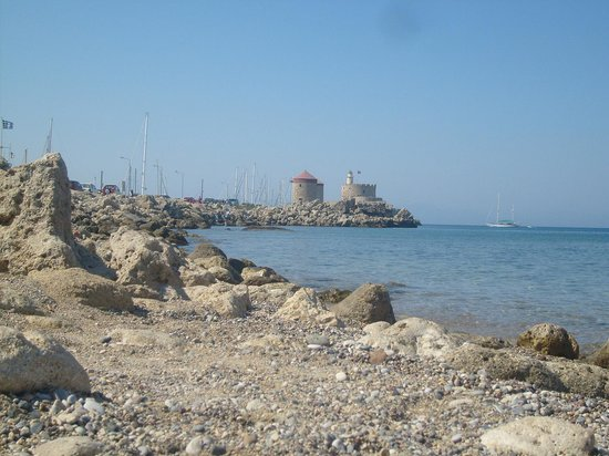 Rhodes Town, Greece: a view of the sea and old prison