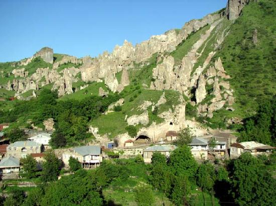 Goris is surrounded by lovely cave-filled mountains