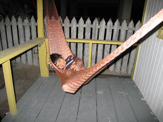 Ocean Pearle Royale Hotel: our son enjoying the hammock