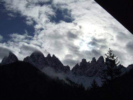 Funes, Italy: View from hotel on Geislerspitzen