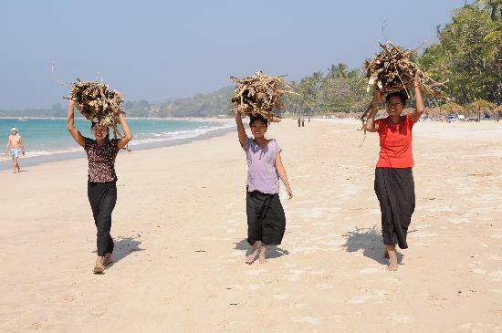 Amata Resort And Spa Burmese Women Carrying Firewood To Their Village On Ngapali Beach