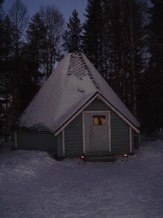 Lumimaa - Snowland: The wooden kota where we had the wedding dinner