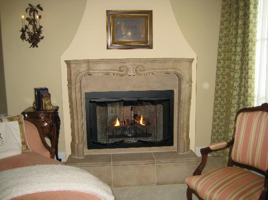 Fire place...and don't you just love a chaise longue!