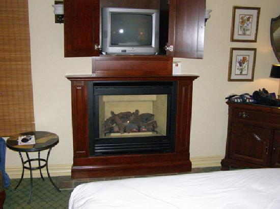 Ripplecove Lakefront Hotel and Spa: Fireplace and 2nd TV