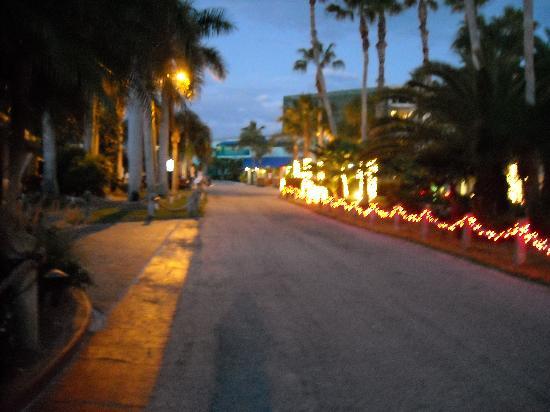 Tropical Beach Resorts: Walkways by night, even.
