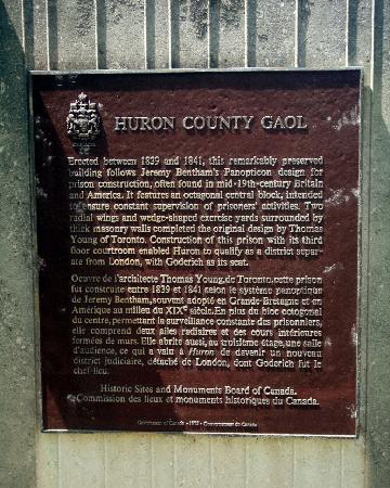 Huron Historic Gaol: Gaol Plaque