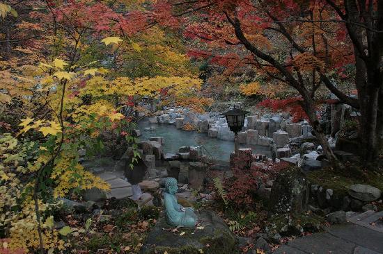 Takaragawa Onsen: vista de los baños termales al fondo
