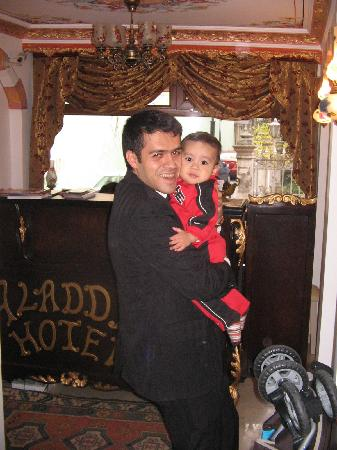 Aldem Hotel: The hotel manager with our son