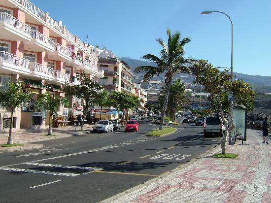 Playa San Juan, Spain: looking down front street to harbour