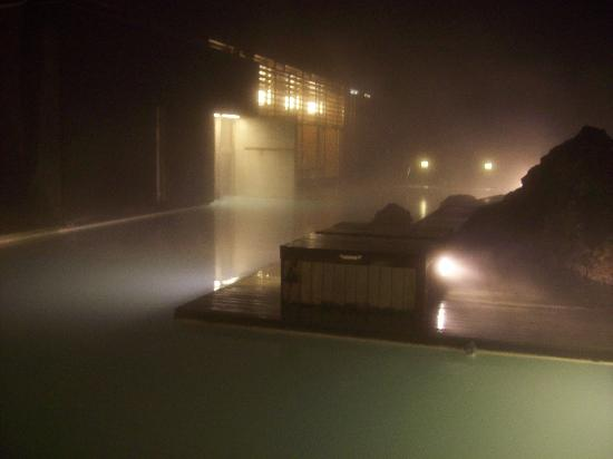 Silica Hotel: Private lagoon at night.