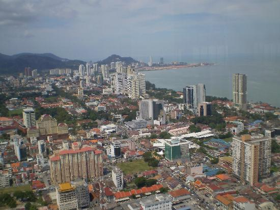 Penang Island, Malaysia: View of Georgetown from 60th floor of Komtar Tower. DO NOT eat at restaurant