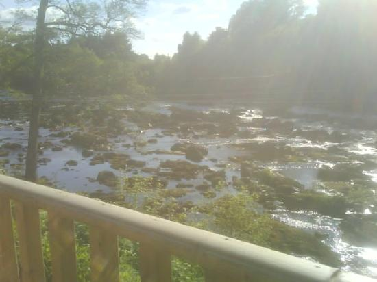 Grandtully, UK: View overlooking the river from the bar's decking, pic doesn't do it justice!