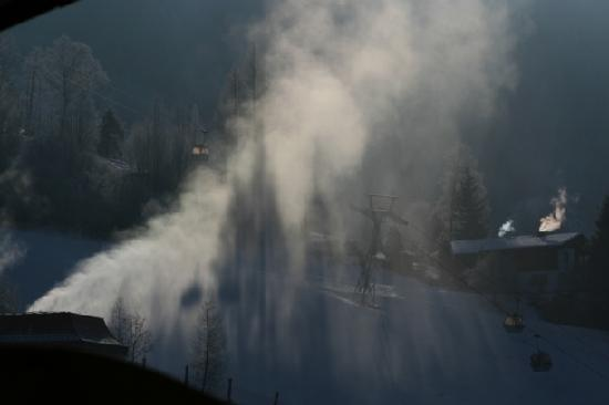 Hotel Alpendorf: View of snow machines & gondola station from our balcony