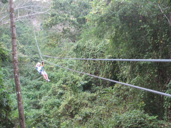 Lethe, Jamaïque : Getting attached to the zipline.