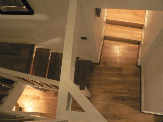 The Marine Hotel: Stairway to the loft.