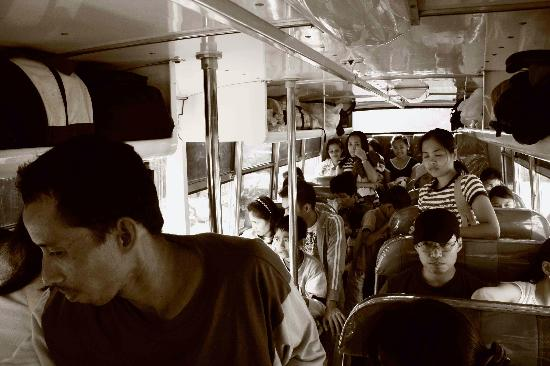inside a packed bus from Puerto to El Nido