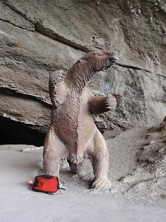 Cueva del Milodon: The statue of the milodon at the entrance to the cave.  My back pack is at his feet to give scal