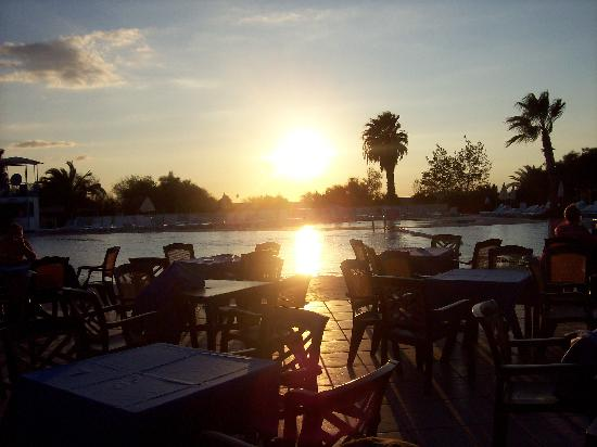 Euphoria Palm Beach Resort: Sun setting by the Main pool