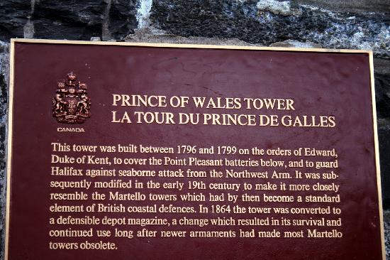 Prince of Wales Tower : Plaque
