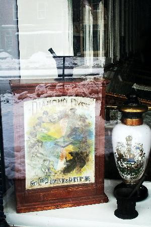 Niagara-on-the-Lake, Canada: Apothecary Museum Windows with Snowy Reflections