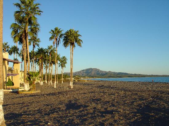 Desert Inn at Loreto: View down beach with hotel left