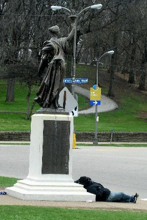 Schenley Park: Statue with Sleeping Bum