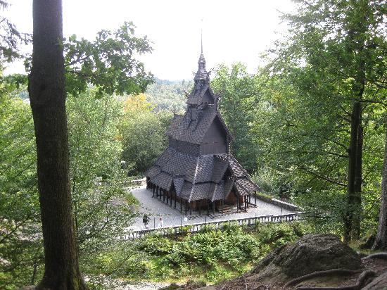 Fantoft Stavkirke : From the hill behind the church