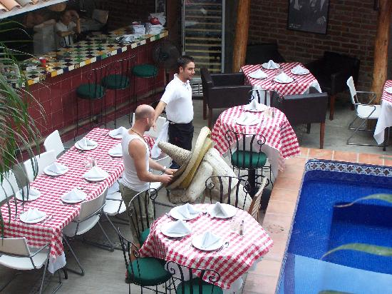 Salvatore's Italian Restaurant: Photo of Matt and Hector setting up from second floor of hotel