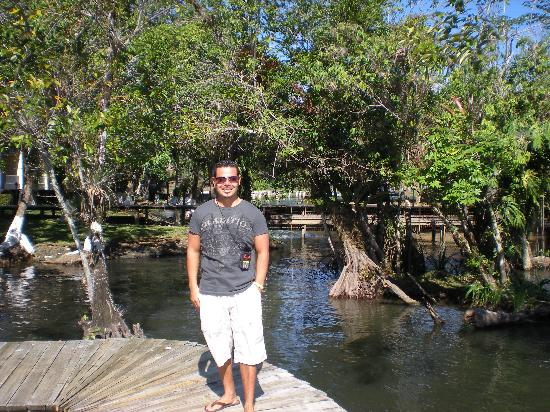 Hotel Mansion del Rio: Josue' on the walkway/dock on the river