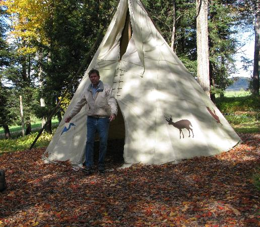 Sprague's Maple Farm: Tepee along Maple Trail; Indians first discovered maple sweetening