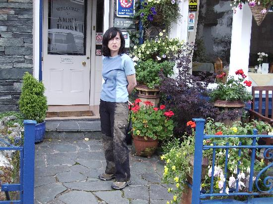 Amble House: Wife, Pat, after rolling in mud-can't take her anywhere!