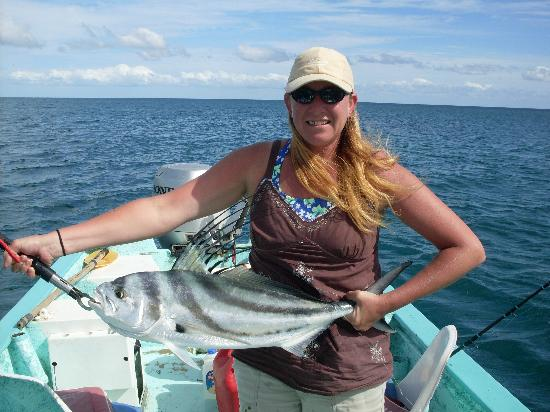 Hacienda Del Sol : Stefanie with a big roosterfish