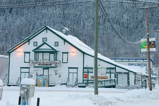Dawson City, Canada: Diamond Tooth Gertie's and the Triple J Hotel--closed for the winter