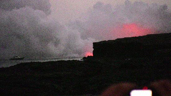 Keaau Place : Kilauea Volcano lava flow at Night