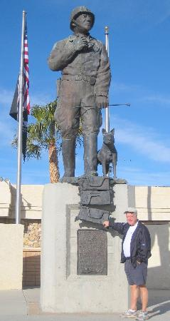 Chiriaco Summit, CA: Bill with Patton statue outside museum