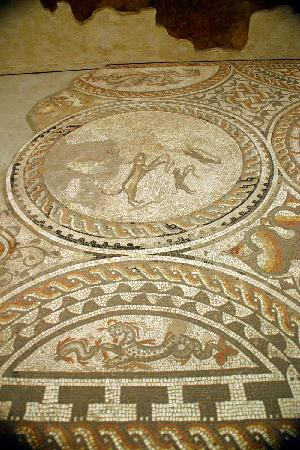 Киренчестер, UK: The hunting dogs mosaic.