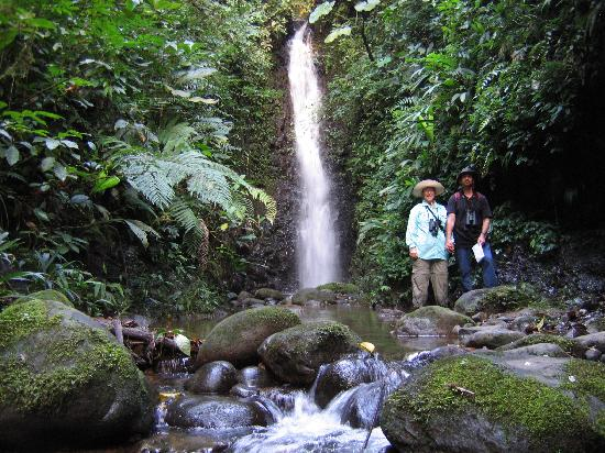San Jorge de Milpe Eco-Lodge Orchid & Bird Reserve : My wife and I at one of the waterfalls