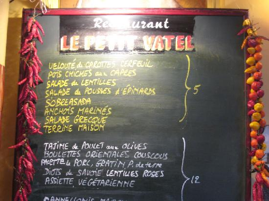 Le Petit Vatel: Part of the evening's menu